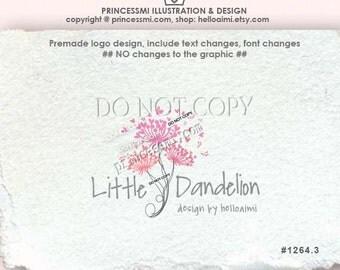 1264-3 dandelion logo, Custom Premade Logo Design - sketch hand drawn dandelion logo, photography business boutique