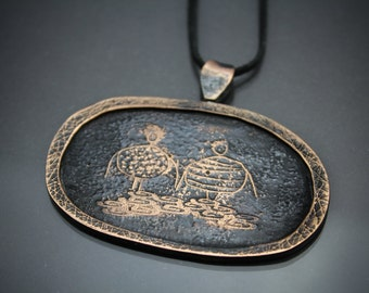 "copper necklace, copper pendant, etched copper, ""Nobody loves Her"""