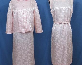 Jackie O style dress & jacket - 1960s pink brocade - S-M