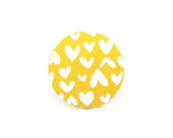 Valentine's day gift - Large heart ring - mustard yellow ring - big button ring - fabric ring - white hearts love happy funky - gift for her