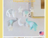 Baby Mobile, Baby Crib Mobile, Children Decor, Elephant Mobile, Starry Night Cot Mobile, Moon and Star Cot, Turquoise Gray White