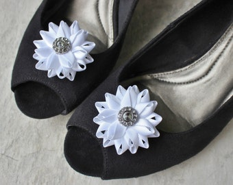 Flower Shoe Clips, Wedding Shoe Clips, Rhinestone Center, Flowers for Bridesmaid Shoes, Flowers for Bridal Shoes, Wedding Ideas