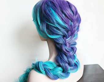 SALE Blue Wig |  Long Blue Wig | Curly Gradient Purple and Blue Scene Wig | Perfect for Summer Festivals | Aquatic Oasis