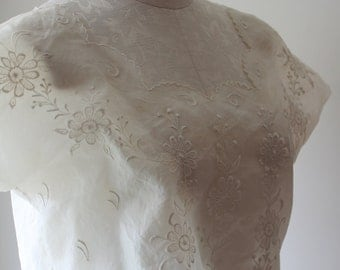 Vintage Edwardian Style Sheer Crop Shirt Vintage Embroidered Sheer Crop shirt