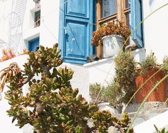 Santorini Art - Greece Print - Oia Photography - Greek Islands Photo - Travel Photography - Blue Window - Mediterranean Home Decor Wall Art