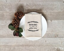 Thanksgiving Napkins Grateful Wreath Autumn Holiday Linen Napkins Dining Serving Home Decor Kitchen Table Tablescape Thanksgiving Dinner