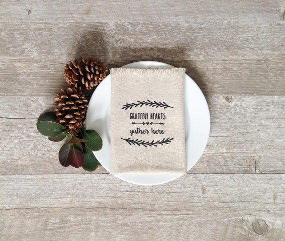 Thanksgiving Napkins Grateful Wreath