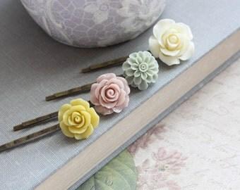 Blush Pink Flower Bobby Pins Mustard Floral Hair Pins Sage Green Chrysanthemum Dahlia Hair Clips Bridesmaids Gift Set of Four Fall Wedding