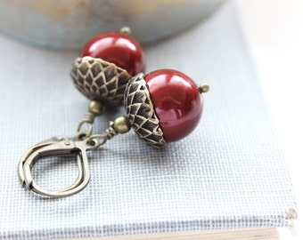 Cranberry Red Acorn Earrings Winter Wedding Pearl Drop Rustic Autumn Jewelry Wine Red Dangle Christmas Gift For Her - 16 Colors of Pearl