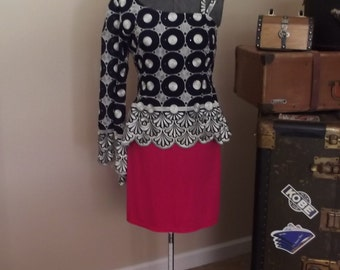 Super Cool Retro Silver and Navy Blouse With One Long Poet Sleeve