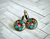 flower drop earrings, dangle earrings, scandinavian jewelry, colorful earrings, handmade earrings