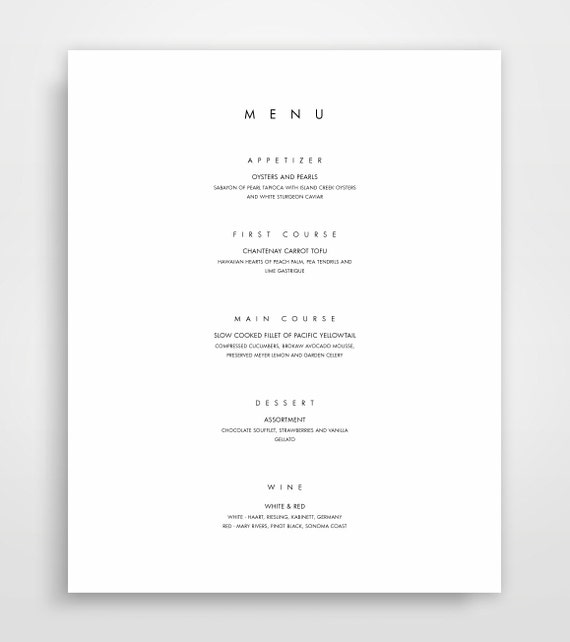 Menu Template, Printable Menu, Modern Menu, Minimalist Menu Instant  Download, Menu Design, Elegant Menu Templates, Menu Designs  Formal Dinner Menu Template