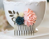 Blush Pink Navy Dark Blue White Ivory Pearl Rose Flower Bridal Hair Comb Bridesmaid Gift Pink Navy Wedding Hairpiece Rustic Vintage
