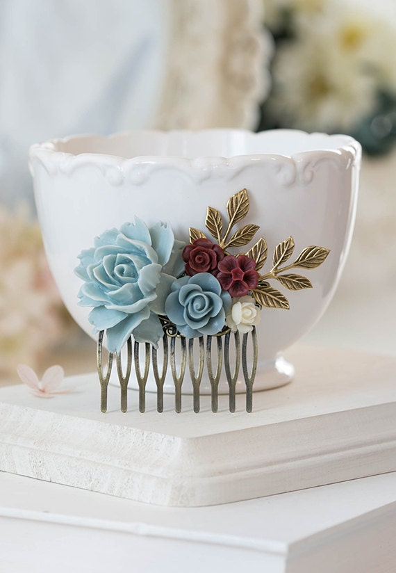 Bridal Hair Comb Dusty Blue Dusky Blue Powder Blue Maroon Burgundy  Dark Red Ivory Rose Flower Collage Comb Country Chic Garden Wedding Comb