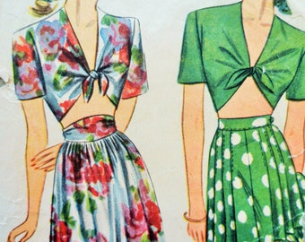 Vintage Simplicity 1020 Sewing Pattern, 1940s Playsuit Pattern, Midriff Top Full Shorts Pattern 1940s Sewing Pattern, NO SIZE, Skirt Pattern