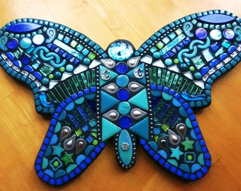 """CUSTOM MOSAIC Handmade Butterfly - Your Color Choice - This One is Shades of Blues, Teals & Greens w Silver Embellishments (16""""x10"""") - OOAK!"""