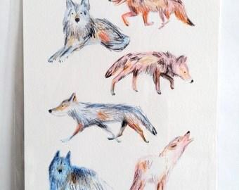 A4 Wolves Print