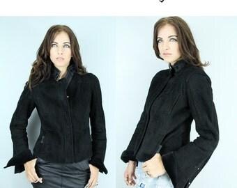 GUCCI SHEEPSKIN Jacket Shearling Coat Vintage Black Authentic Gucci Coat // TatiTati Style on Etsy
