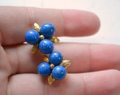 1950s Ciner Blue Bead Cluster Clip Earrings