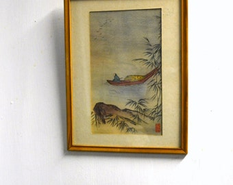 1950s Asian Watercolor Print