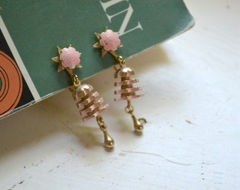 1950s Pink and Gold Screw Back Dangle Earrings