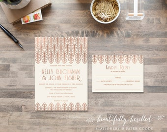 Great Gatsby Rose Gold Faux-Foil Art Deco Wedding Invitations --- 1920's, Art Deco, Flapper Pink and Ivory