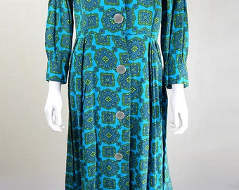 Vintage 1940s Turquoise & Olive Crest Print Day Dress UK Size 12