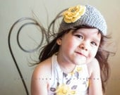Crochet Girls Hat - Baby Hat - Toddler Hat - Winter Hat - Light Gray (Grey) Rhinestone Yellow Flower - in sizes Newborn to 3 Years