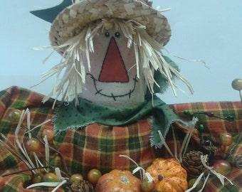Primitive Handmade Fall Scarecrow Shelf Sitter Doll