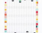 Wall Planner 2016 Calendar Office Organiser Mid Century Modern Retro Pattern
