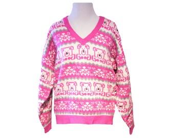 Womens Cute Bear Sweater Size Medium