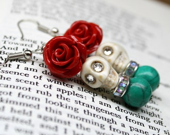 Sugar Skull Earrings with Red Roses DOD Glam Jewelry