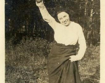 "Vintage Photo ""Goofy Gale"" Woman Waving Snapshot Photo Antique Photo Black & White Photograph Found Photo Paper Ephemera Vernacular - 142"