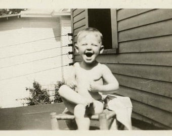 "Vintage Photo ""Happy in the Sun"" Boy Snapshot Photo Old Antique Photo Black & White Photograph Found Photo Paper Ephemera Vernacular - 142"
