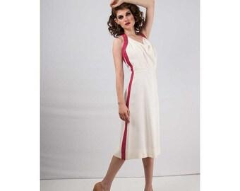 1930s dress / Vintage Soft white halter sundress S