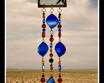 Painted Raised Fish Tile Windchime with Beach Glass, Beads, Caged Marbles and Bells