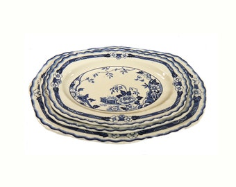 Alfred Meakin Jesmonde Platters x 3 Blue and White China 1920s