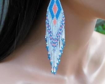Salmon White & Blue Extra Long - Unique - Long Beaded Earrings - Modern Boho Statement - Fringe Seed Bead Earrings - Bright Florescent