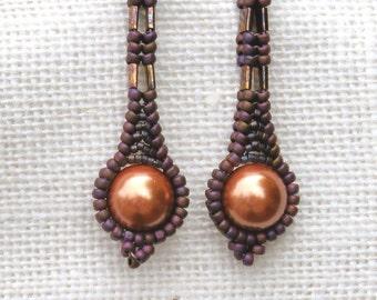 Raspberry & Copper Earrings - Beaded Long Pearl - Drop Style - Matte Everyday Wear - Handmade Beadwork - Teardrop Shaped - Modern Pearl