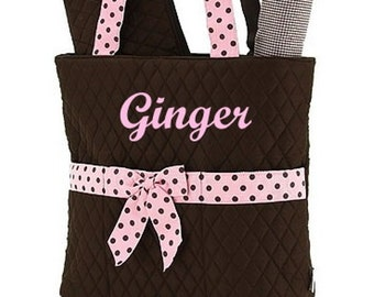 Diaper Bag Personalized Brown Pink Dots Quilted 3pc