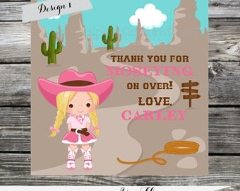 Set of 12 Personalized Favor Tags -Yee Haw -Thank You Tag -Gift Tag -Baby Shower -Birthday-Sticker-Cowgirl -Western Birthday -Cow girl party