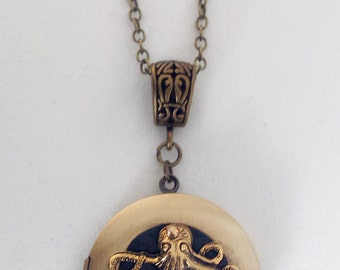 Steampunk Inspired Locket - Polished Brass with an Octopus
