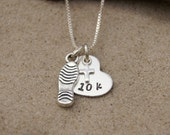 RUNNING JEWELRY, Runners Necklace, Fine Silver, Sterling Silver, 5K, 10K, 13.1, 26.2, Gift For Runner, Run Necklace, Marathon Necklace,