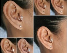Tragus Earring Sterling Silver Crescent Moon - Cross - Heart - Anchor - Triangle - Star - Cartilage Body Jewelry - Rook Daith Helix