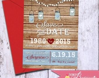 Mason Jar Save the Date - DIY Printable Invite - Wedding Shower - Baby Shower - BBQ Invitation