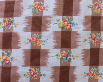 Vintage Brown Checkered Floral Bouquet Print Fabric