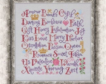 COTTAGE GARDEN SAMPLINGS Valentine Sampler counted cross stitch patterns at thecottageneedle.com February Winter Valentine's Day alphabet