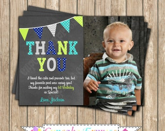 One First Birthday BOY grey teal lime navy blue PRINTABLE chalkboard Thank You Card #1 chevron polka dot 1st birthday diy