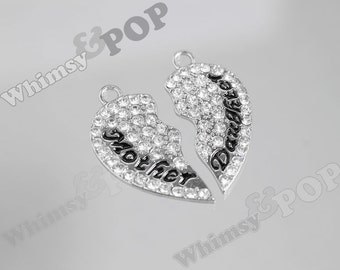 1 - Silver Tone Diamante Crystal Mother Daughter Charm Set, Mother Daughter Pendant Set, Best Friend Charm, 30mm x 33mm (1-1G)