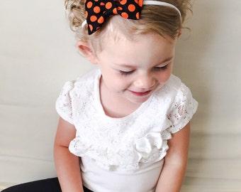 Halloween Bow Headband -Orange Black Dot Halloween Bow Baby Headband -Halloween Polka Dot Bow with Diagonal Tails Baby Headband Orange Black